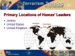 primary locations of hamas leaders