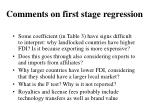 comments on first stage regression