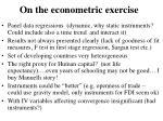 on the econometric exercise