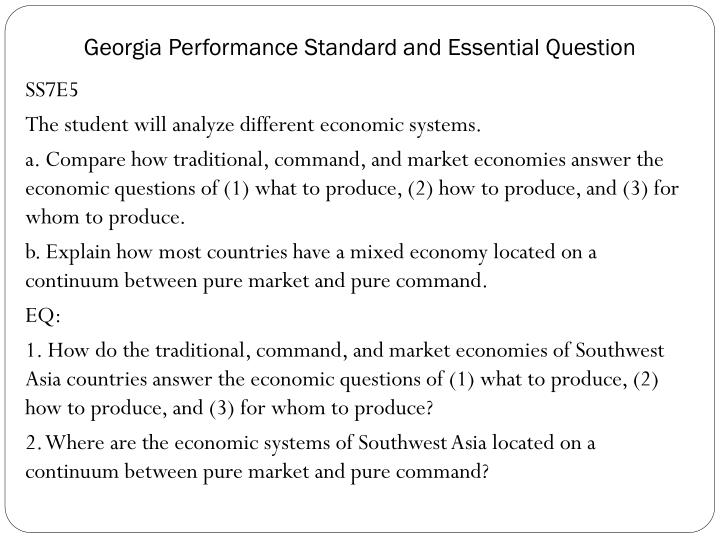 georgia performance standard and essential question n.