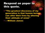 respond on paper to this quote1
