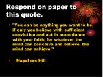 respond on paper to this quote5
