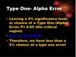 type one alpha error