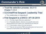 commander s role