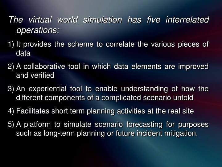 The virtual world simulation has five interrelated operations: