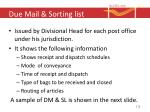 due mail sorting list