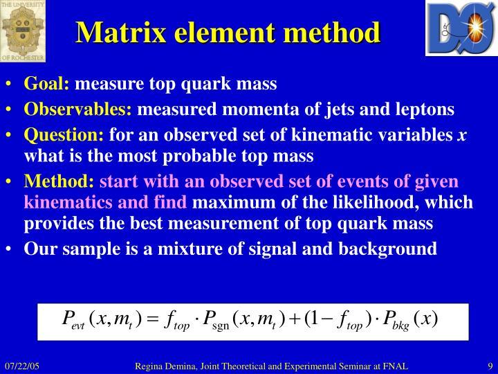 Matrix element method
