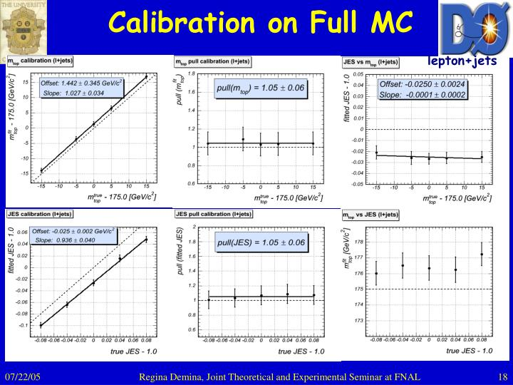 Calibration on Full MC