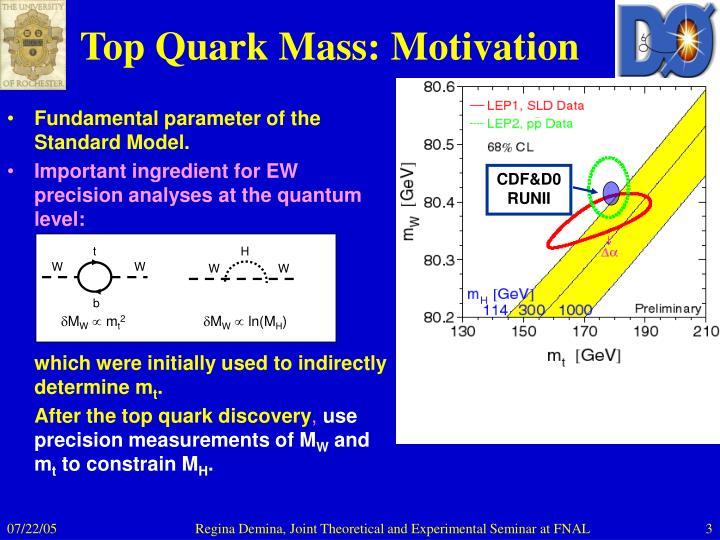 Top quark mass motivation