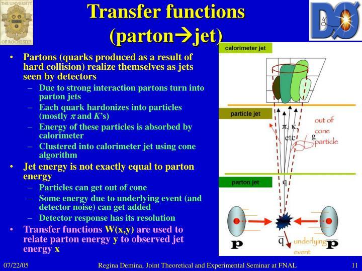 Transfer functions (parton