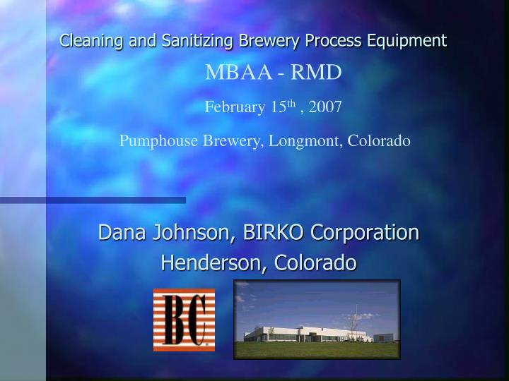cleaning and sanitizing brewery process equipment n.