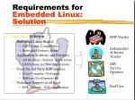 requirements for embedded linux solution