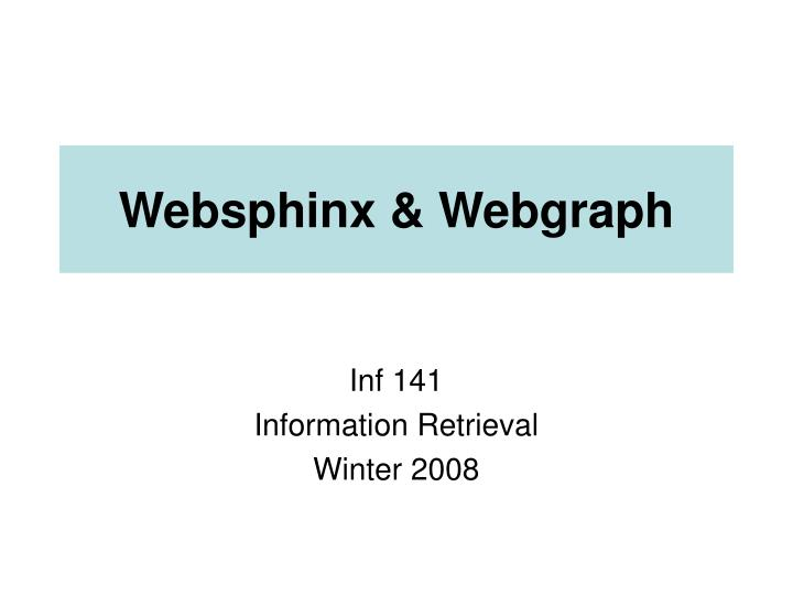 websphinx webgraph n.