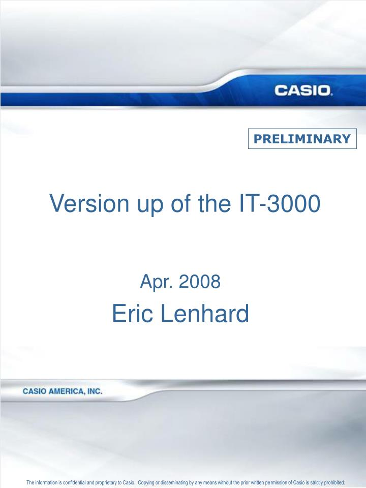 version up of the it 3000 n.