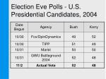 election eve polls u s presidential candidates 20042