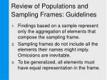 review of populations and sampling frames guidelines