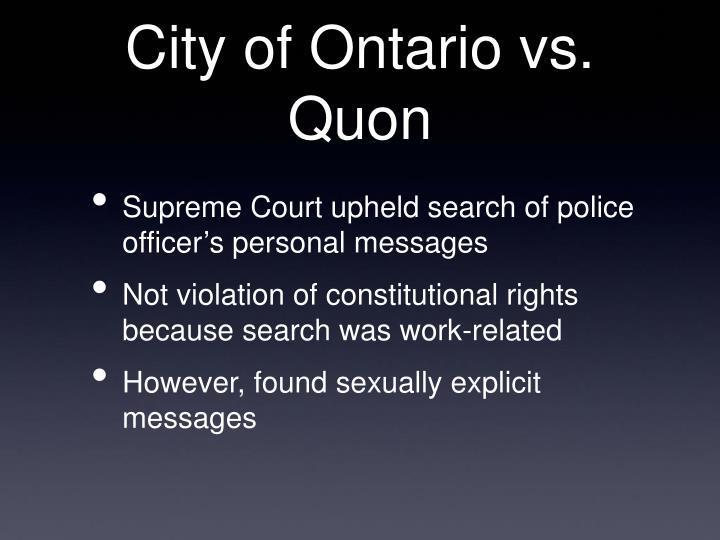 City of Ontario vs. Quon