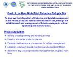 goal of the ham ninh pilot fisheries refugia site