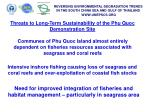 threats to long term sustainability of the phu quoc demonstration site