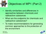 objectives of wp1 part 2