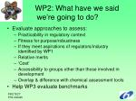 wp2 what have we said we re going to do