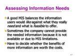 assessing information needs