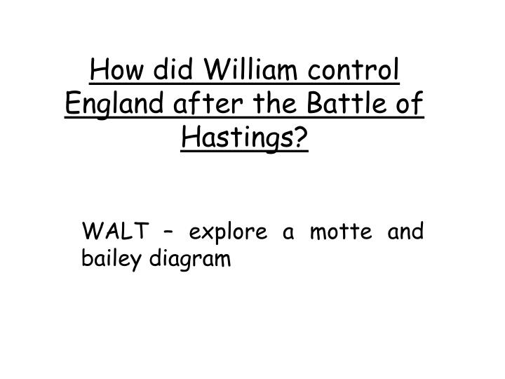 how did william control england after the battle of hastings n.