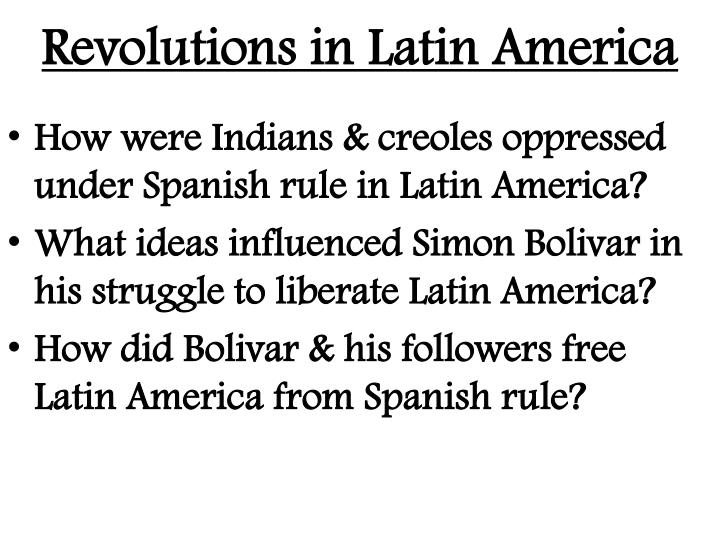revolutions in latin america n.