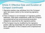 article ii effective date and duration of compact continued