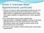 article v interstate water apportionments continued