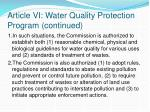 article vi water quality protection program continued