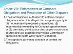article viii enforcement of compact obligations and resolution of other disputes