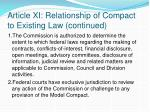 article xi relationship of compact to existing law continued