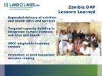 zambia dap lessons learned