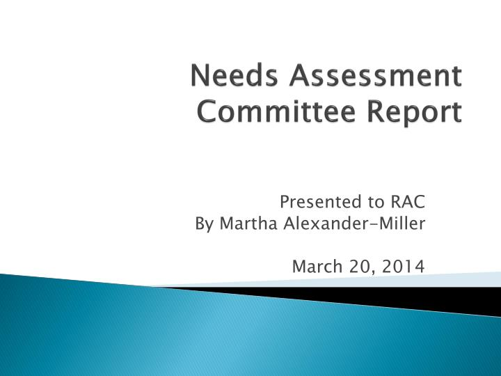 needs assessment committee report n.
