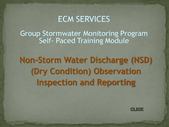 ecm services group stormwater monitoring program self paced training module n.