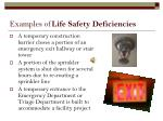 examples of life safety deficiencies