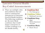 lancaster general health key coded announcements