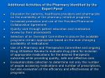additional activities of the pharmacy identified by the expert panel