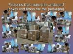 factories that make the cardboard boxes and lifters for the packaging