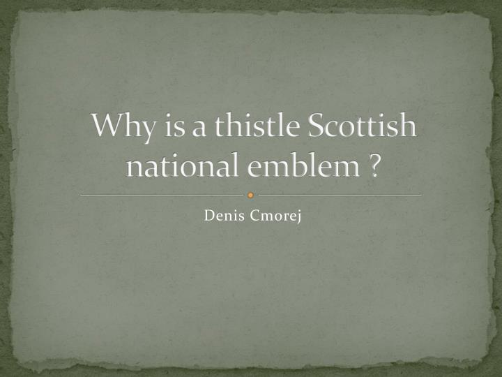 why is a thistle scottish national emblem n.