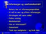 informasjon og samfunnskontakt