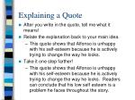 explaining a quote