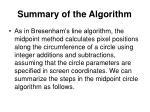 summary of the algorithm