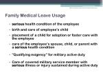family medical leave usage