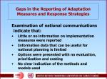 gaps in the reporting of adaptation measures and response strategies