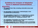 guidelines for inclusion of adaptation issues in n ational communications