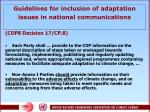 guidelines for inclusion of adaptation issues in national communications
