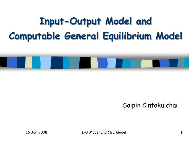 input output model and computable general equilibrium model n.