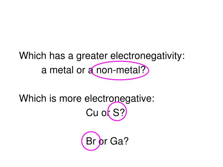 Which has a greater electronegativity:
